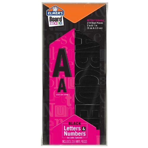 Repositionable Poster - ELMERS Board Mate Repositionable Vinyl Sticky Letters & Numbers, Black (E3072M)