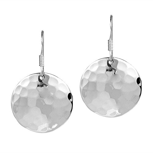 Hammered Sterling Silver Dangle (Nice Round Hammer Texture .925 Sterling Silver Dangle Earrings)