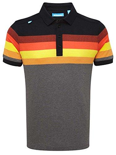 Bunker Mentality Golf Cotton Tour Stripe Golf Polo Shirt - Black - M
