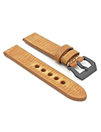 StrapsCo Extra Long 24mm Tan Thick Distressed Vintage Leather Watch Band w/ Black Pre-V Buckle