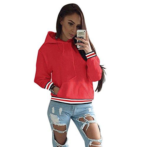 Top Sweater Crop Fashion Red Yalatan Women Casual Exquisite Hooded Ow7xpqXZ