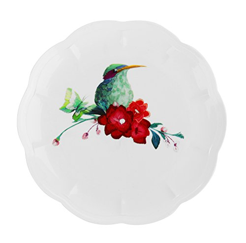 Vintage Bird Design Disposable Plastic Dinnerware Party Plates - Real China Look - Hard & Reusable (18 Piece Pack - 7 Inch Round) by PartyPiks
