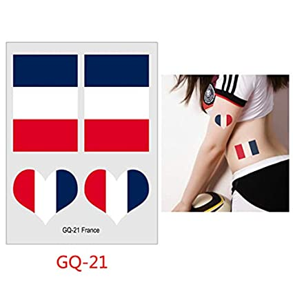 slldyax Tatuaje de bandera nacional de 6 cm * 8 cm para fanáticos ...