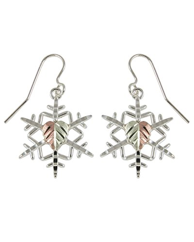Snowflake Earrings, Sterling Silver, 12k Green and Rose Gold Black Hills Gold Motif by The Men's Jewelry Store (for HER)