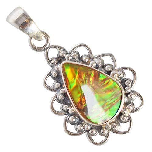 Ravishing Impressions Amazing Natural Green Fire Ammolite Gemstone Pendant, Canadian Ammonite, 925 Sterling Silver New Jewelry,Gifts FSJ-3675