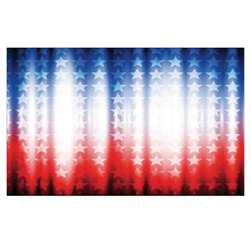 3D Floor/Wall Sticker Removable,American Flag Decor,Abstract Background with Stars in Digital Neon Lights Colors Design Image,Blue Red,for Living Room Bathroom Decoration,35.4x23.6