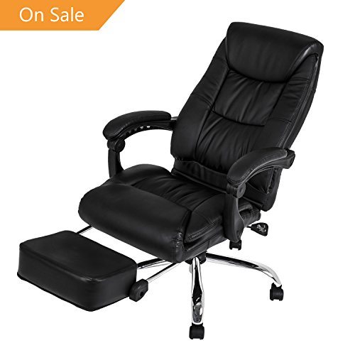 LCH High Back Executive Office Chair-Reclining Napping Computer Desk Chair with Adjustable Leanback Locking System and Footrest, Thick Padding for Comfort and Ergonomic Design for Lumbar Support (Swivel That Recliners)
