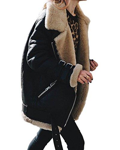 Minetom? Women Winter Motorcycle Jacket Suede Fleece Coat Outwear Street Style Cool Fashion Casual Outdoor Warm Parka Black