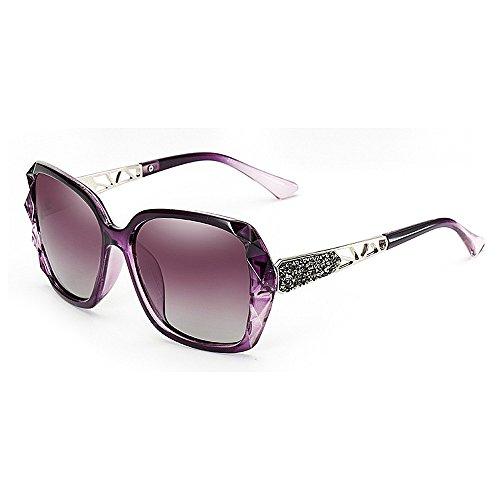 decoración marco de del de gafas sol la Unisex Gafas Gafas las del Gafas sol de de las Retro Estilo Elegante polarizadas sol Protección cuadrado cristal para Gaf ULTRAVIOLETA Púrpura rizadas mujeres sol de de zqB0Hxv