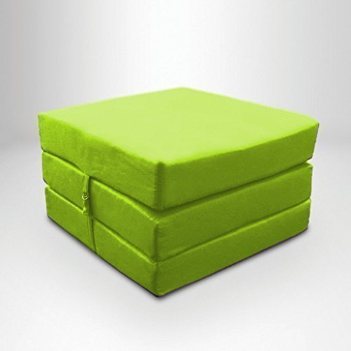 Lime Green Water Resistant Fold Out Z Bed Cube Mattress with Fastening Ready Steady Bed