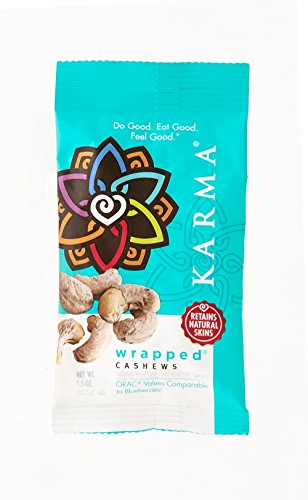 KARMA Premium Wrapped Natural and Dry Roasted Whole Cashews, Salted, 1.5 Ounce, 12 Count
