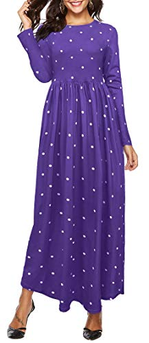 Oyanus Womens Dresses Round Neck Long Sleeve Polka Dot Pleated Loose Casual Swing Long Maxi Dress with Pocket