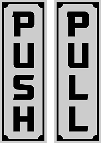 Stylish Push Pull Door Entrance Exit Signs Domed (Chrome) Indoor/Outdoor, Self Adhesive, Great For Home Or Business, Schools, Retail Stores, Shops, Studios, -