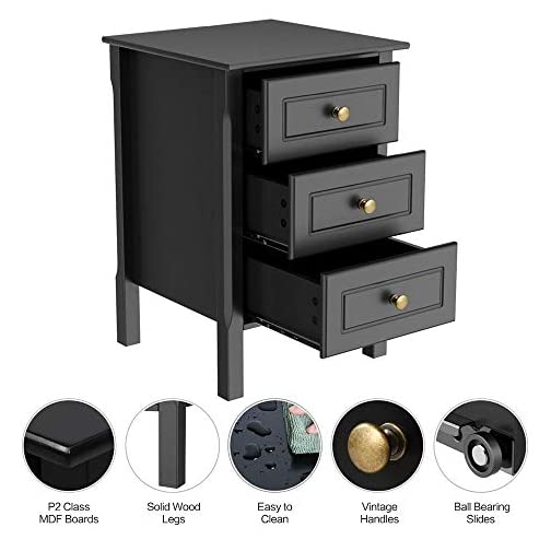 YAHEETECH Black Nightstand Bedside End Table 3 Drawer Storage Organizer Home Furniture