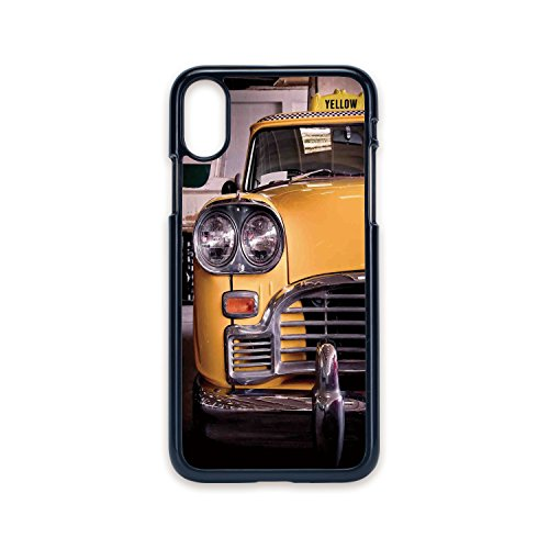 Phone Case Compatible with iPhone X 2D Print Black Edge,NYC Decor,Picture of Antique Yellow Taxi Historical Element of Old NYC Nostalgia Vintage Cab Theme,Yellow Grey,Hard Plastic Phone Case - Nyc Antique