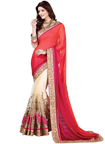 EthnicWear Elegant New Pink Beige Half n Half Beautiful Hot Selling Resham Embroidery Wedding Saries Sarees ()