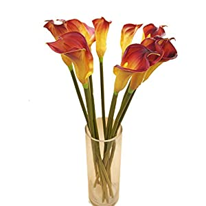 "cn-Knight Artificial Flower 10pcs 26"" Long Stem Calla Lily Faux PU Flower Fake Arum Lily for Wedding Bridal Bouquet Bridesmaid Home Décor Office Baby Shower Centerpiece Reception(Dark Red)"