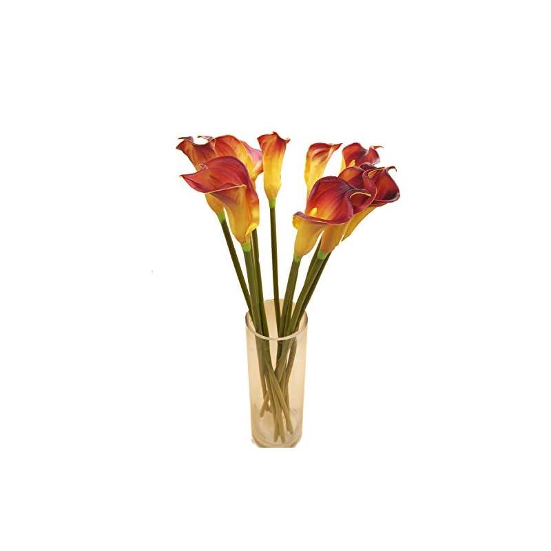 silk flower arrangements cn-knight artificial flower 10pcs 26'' long stem calla lily faux pu flower fake arum lily for wedding bridal bouquet bridesmaid home décor office baby shower centerpiece reception(dark red)