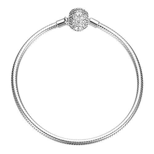 About Sterling Silver Charm Bracelet - SOUFEEL 925 Sterling Silver Bracelet Crystal Clasp Charm Bracelets Snake Chain Bracelets 8.3 Inch (21CM)