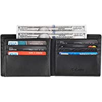 Chelmon Large Capacity Mens Bifold Trifold Leather Wallet RFID Blocking