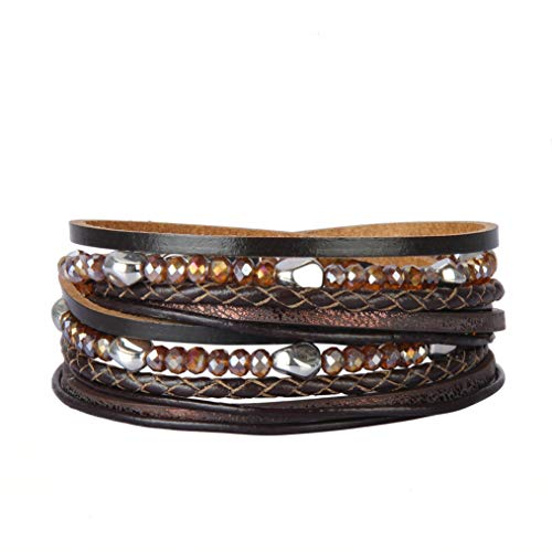 Jeilwiy Womens Leather Cuff Bracelets Gorgeous Crystal Handmade Bangle Bohemian Jewelry for Teens Girls, Mother, Sister, Daughter from Jeilwiy