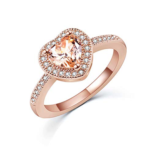(SR Luxurious Rose Gold Plated Heart-Shaped Cubic Zirconia Ladies Bridal Promise Engagement Ring Size 5-9)