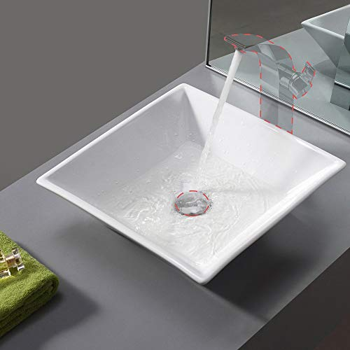 Bathroom Square Porcelain Vessel Sink Above Counter White Countertop Bowl Sink for Lavatory Vanity Cabinet Contemporary Style, BVS111