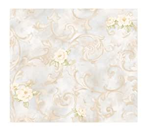 York Wallcoverings Remington Rose LN7563 Leaf Scroll Wallpaper, Mustard Gold