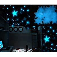 100pcs Luminous blue star wall stickers for livingroom glow in the dark festival home decoration