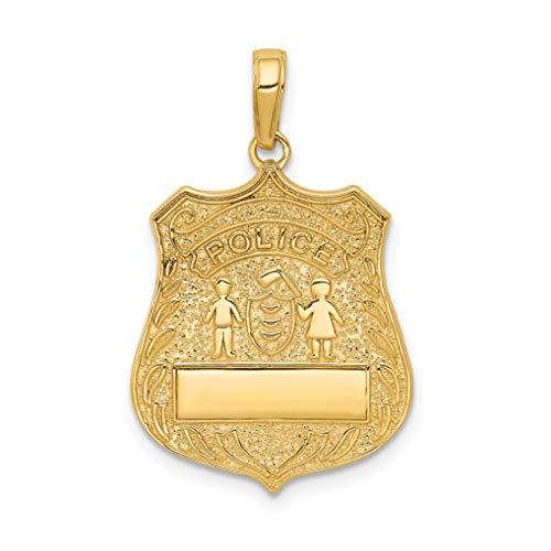 Mireval 14k Yellow Gold Large Police Badge Pendant (17 x 27.5 mm)