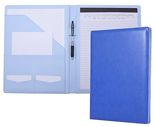 Padfolio Portfolio Resume Folder with Pocket, Premium Faux Leather Interview Writing Legal Pads Document Organizer Portfolio with Business Card Holder (Blue)