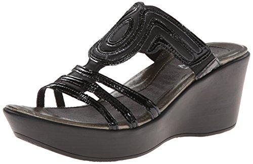 NAOT Women's Enchant Wedge Sandal, Black Raven Leather/Black Crinkle Patent, 41 EU/9.5-10 M (Crinkle Patent Footwear)