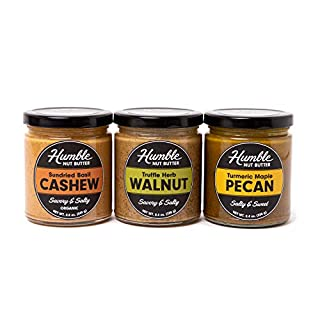 Humble Nut Butter | 3 pack | Sundried Basil Cashew Butter, Truffle Herb Walnut, & Turmeric Maple Pecan Butter Included | Vegan, Gluten Free | Handmade in Small Batches | 3 Pack of 8.4 oz Jars