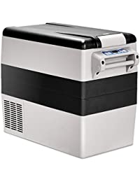 Costway 54 Quart Portable Refrigerator/Freezer Compact Vehicle Car Mini Fridge Electric Cooler for Truck Party, Travel, Picnic Outdoor, Camping (Black and Grey)