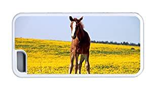 Cute iphone 5C personalize cases Brown horse TPU White for Apple iPhone 5C
