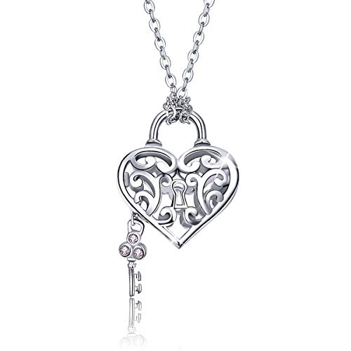 (SIMPLOVE 925 Sterling Silver Engraved Flowers Heart Locket Necklace for Women 17