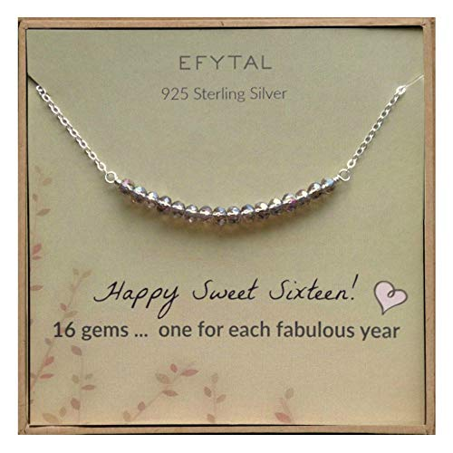 (EFYTAL 16th Birthday Gifts for Girls, Sterling Silver Sweet 16 Necklace for 16 Year Old Girl, Jewelry Gift)