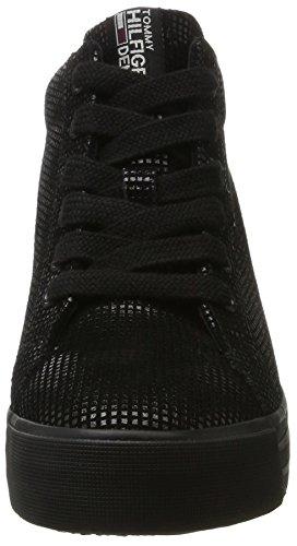 Donne Hilfiger Denim N1385ice Cuneo 5z2 Alta Sneaker Nero (nero)