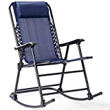 Goplus Folding Rocking Chair Recliner w/Headrest Patio Pool Yard Outdoor Portable Zero Gravity Chair for Camping Fishing Beach (Blue)
