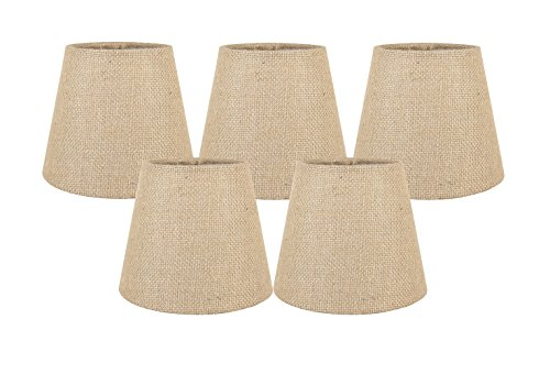Meriville Set of 5 Natural Burlap Clip On Chandelier Lamp Shades, 4-inch by 6-inch by 5-inch (Drum Chandelier Shade Burlap)
