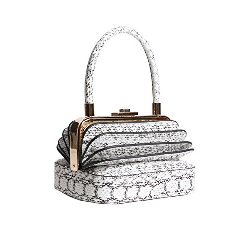 (Qidell Women's Snakeskin Embossed Leather Designer Clutch Bag Evening Clutch Tote Purse Evening Bag (White))