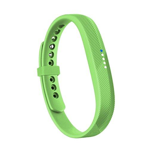 RedTaro Compatible with Fitbit Flex 2 Band, Replacement for Fitbit Flex 2 Accessories Silicon Wristbands w/Fastener Clasp Fitness Strap for Original Fitbit Flex 2, No Tracker (Green, L)