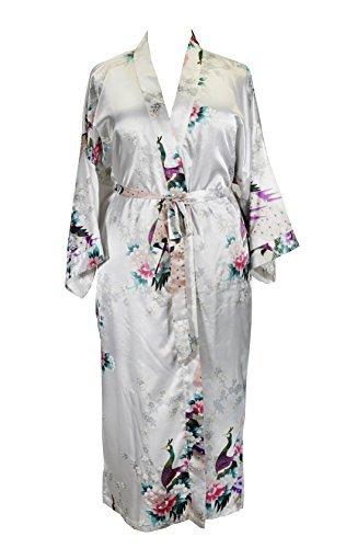 Applesauce 838 - Plus Size Peacock Japanese Women Kimono Sleep Robe, US Size 1X 2X 3X (Pearl White)