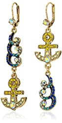 "Betsey Johnson ""Ship Shape"" Pave Anchor Wave Mismatch Linear Drop Earrings"