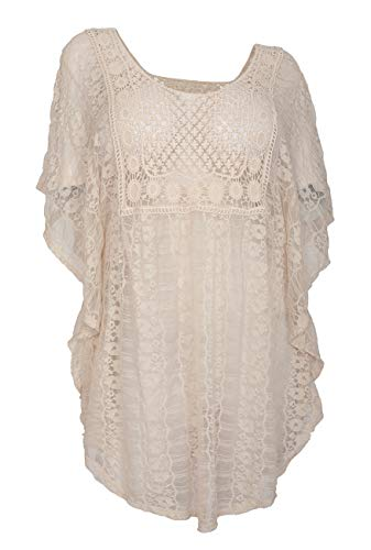 eVogues Plus Size Sheer Crochet Lace Poncho Top Ivory 19618-1X