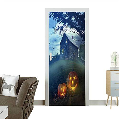 Art Door Stickers Halloween Pumpkins in Front of a Spooky House Door Decals for Home Room Decoration W23 x H70 -