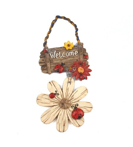 Gardeningwill White Beautiful Small Flowers and Ladybirds Resin Resin Hand Painted Welcome Sign - Ladybug Welcome Sign