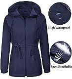 Teewanna Lightweight Waterproof Raincoat Women Windbreaker Packable Outdoor Hooded Rain Jacket, Navy, M