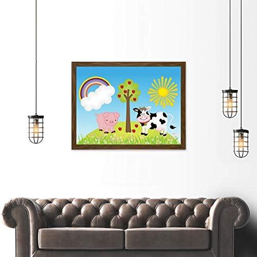 PAINTING DRAWING CHILDREN KIDS FARM ANIMALS SUN RAINBOW ART PRINT POSTER MP3724A