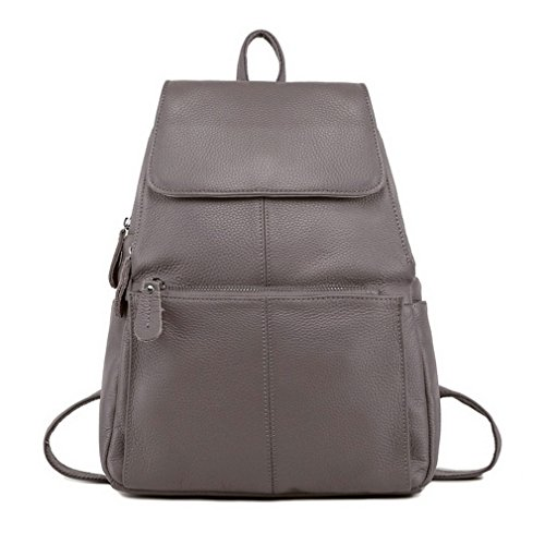 Backpack Real First Leather Cow Red Travel Bags Ladies' Female Layer Dark Leather Gray Dark Women Backpacks Leather qCxntrC